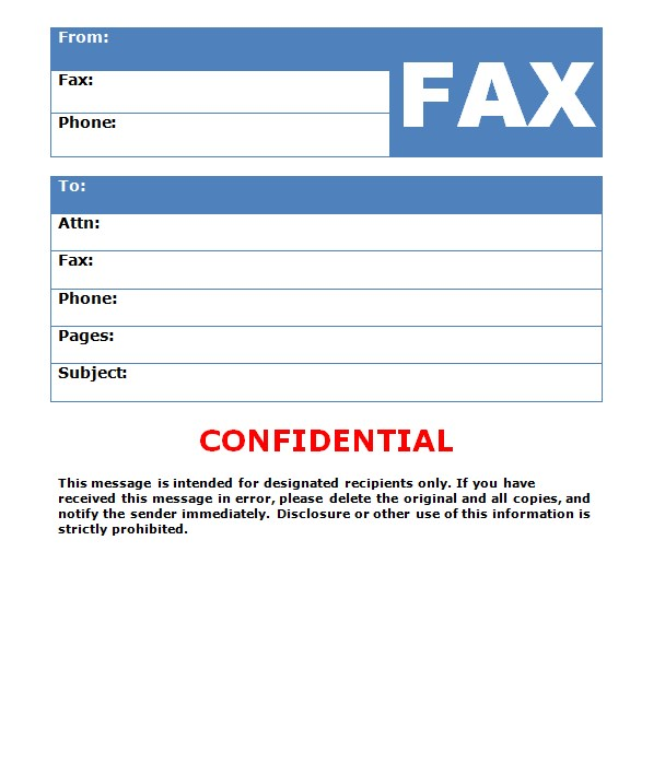 Health Confidential Fax Template