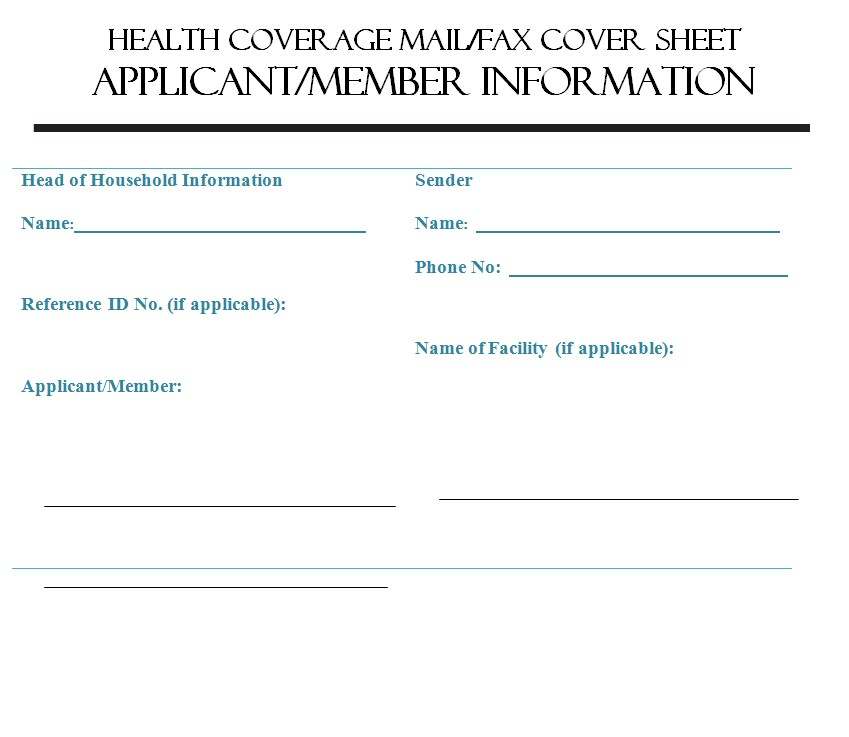 Health Coverage Standard Fax Cover Sheet PDF