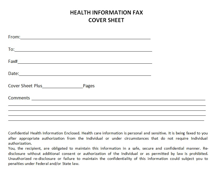 Health Dept Fax Cover Sheet Template PDF