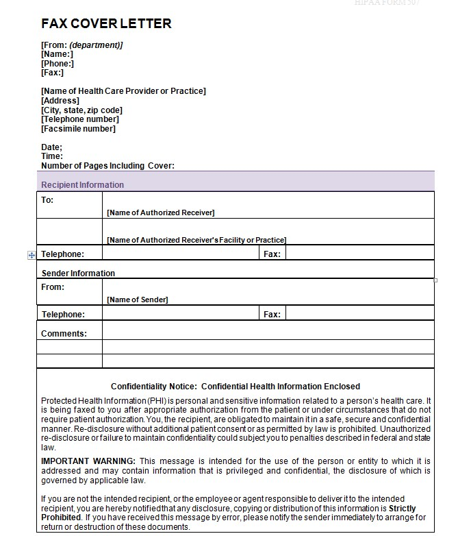 ICMA Personal Fax Cover Letter Templae Word