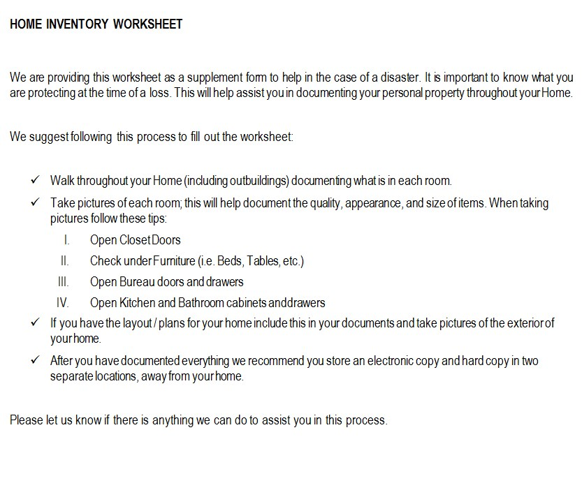 Insurance home contents inventory worksheet
