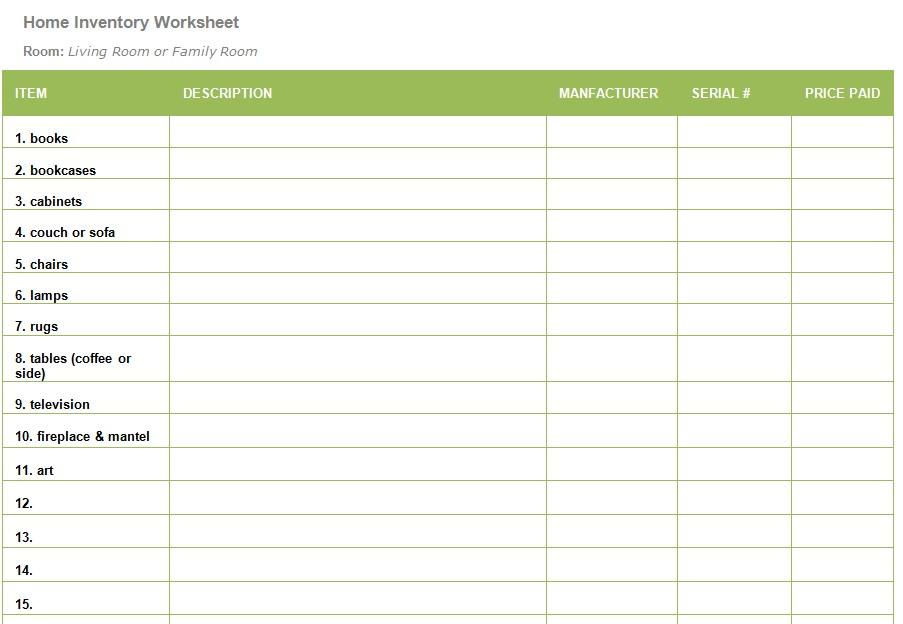 Living Room Inventory Worksheet