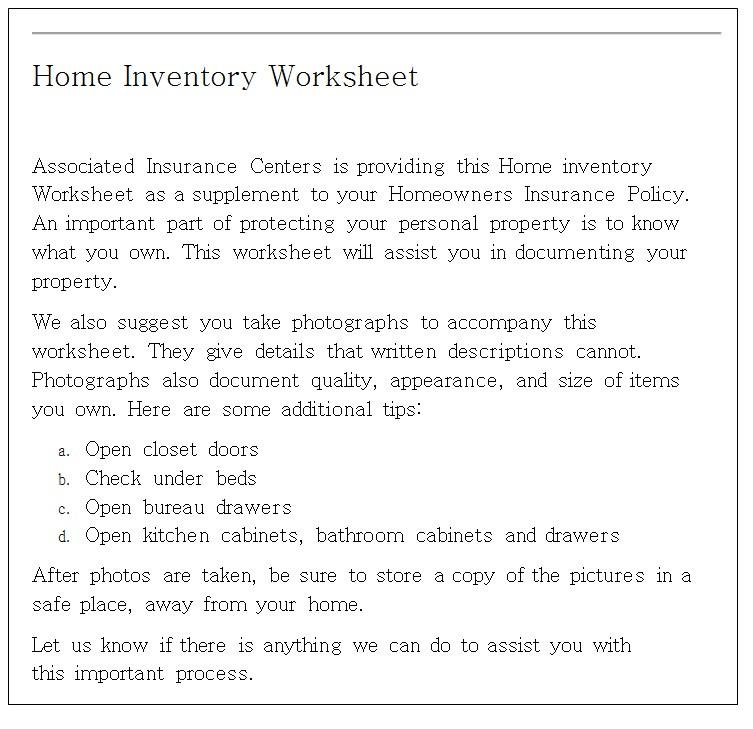 Living Room Items Inventory Worksheet