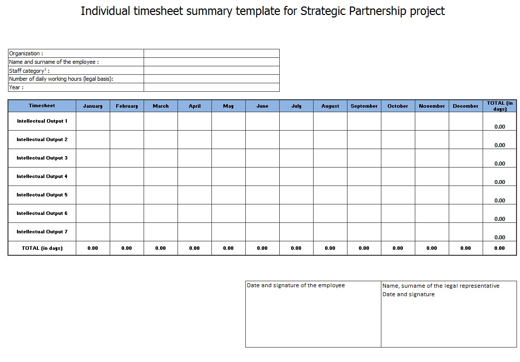 MS Excel Employee Monthly Timesheet Template
