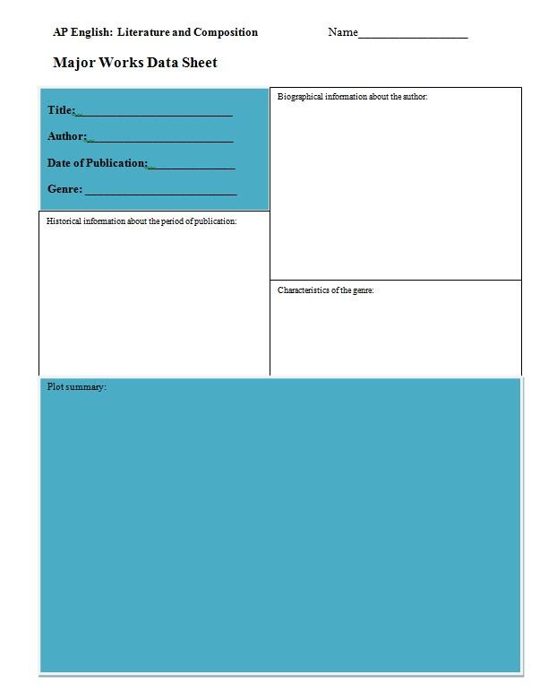 Major Work Data Sheet Word Template