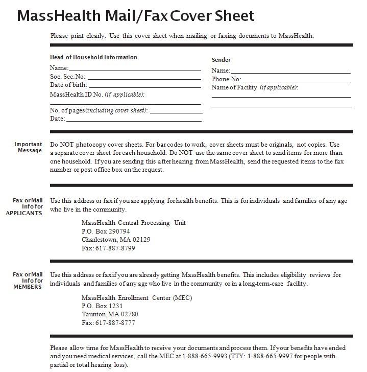 Masshealth Fax Cover Sheet