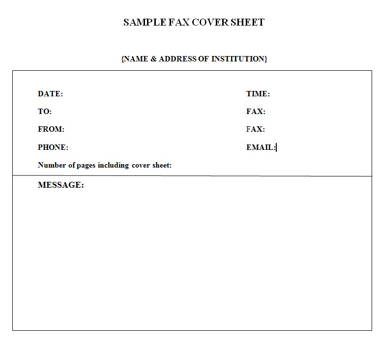Medical Institution Fax Cover Sheet Template PDf Format