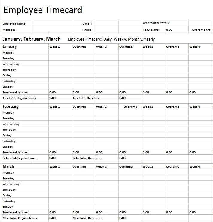 Microsoft Excel Yearly TimeSheet Template