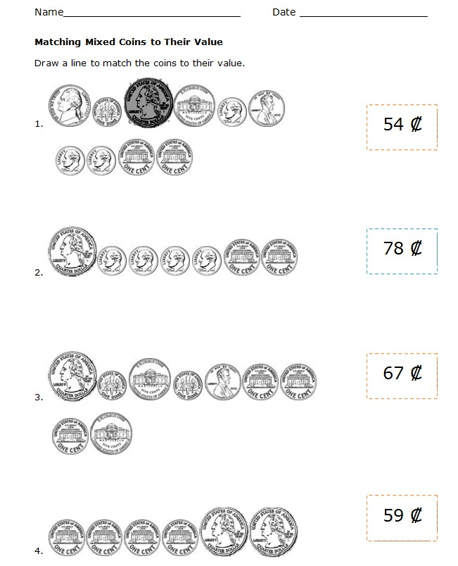Mixed Coins Money Worksheets For Kids Template