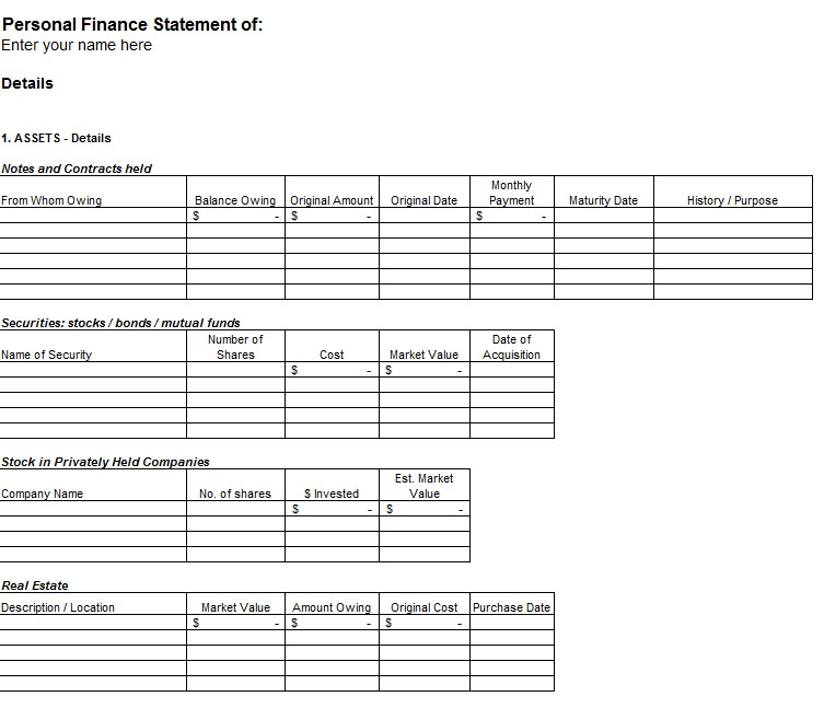 Personal Financial Spreadsheet Excel Template