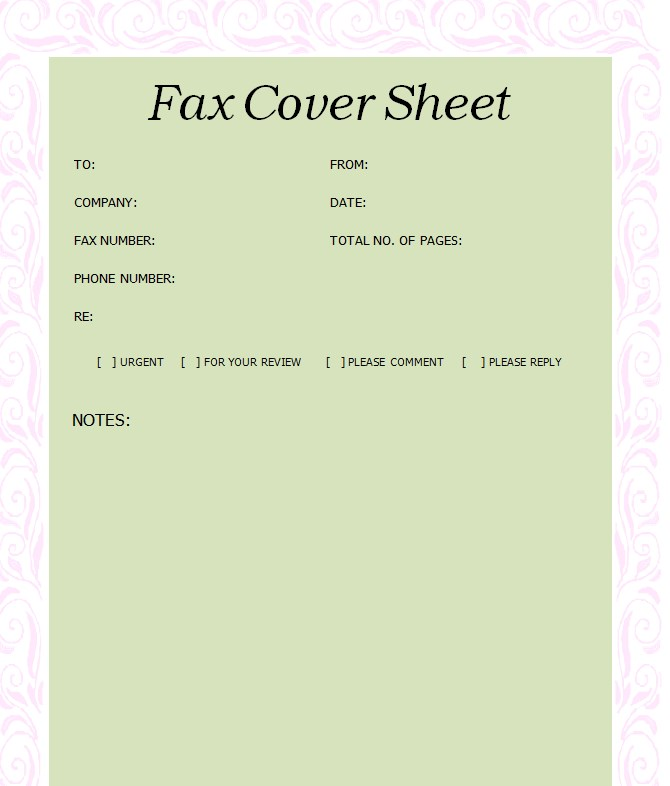 Printable Blank Fax Cover Sheet Template PDF