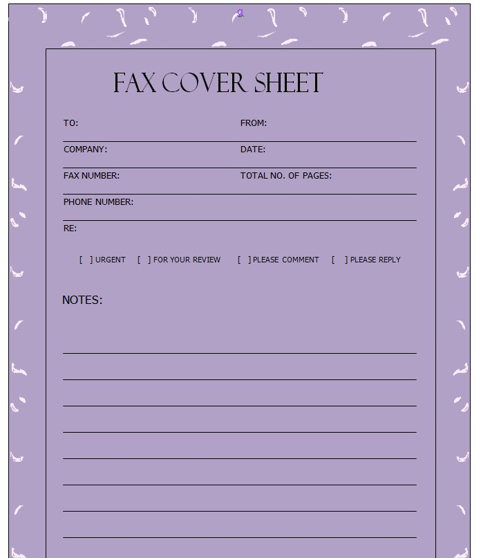 Purple Printable Blank Fax Cover Sheet Template