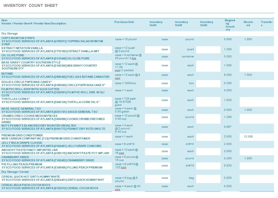 Restaurant Inventory Count Sheet