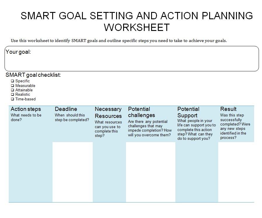 Sample Goal Setting Worksheet Template