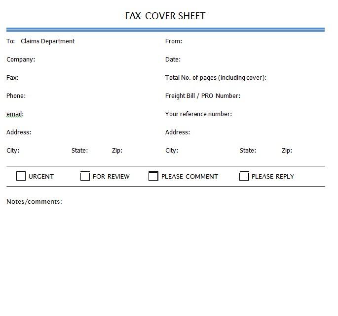 Sample Reddaway Fax Cover Sheet