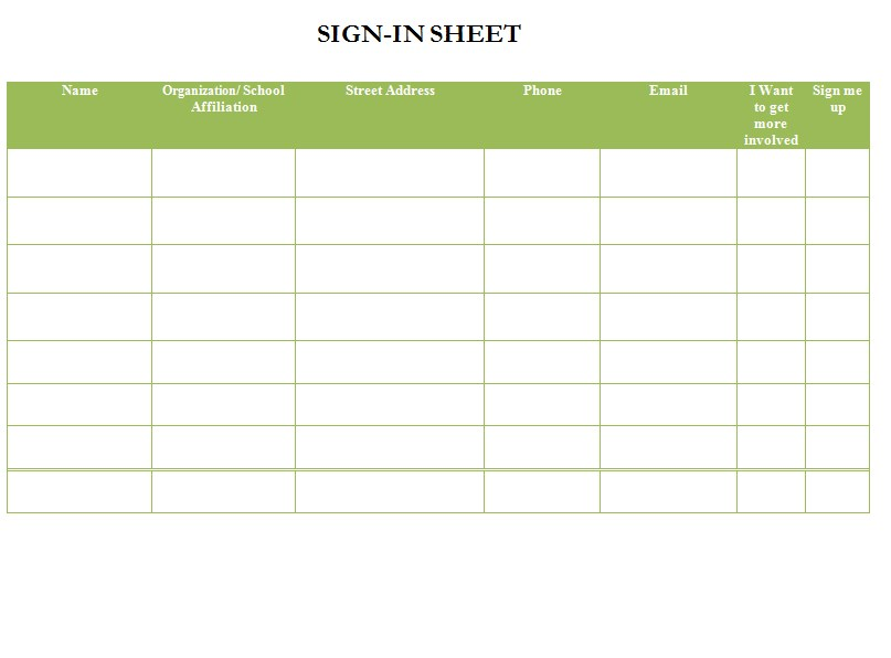 Sample Sign In Sheet