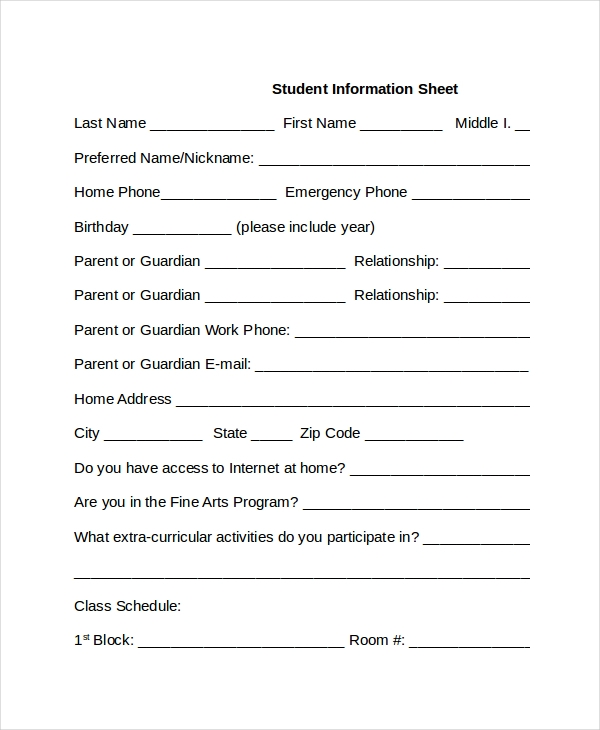Student Inmation Sheet Template