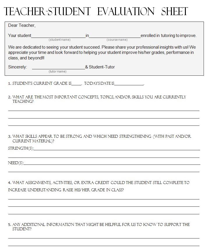 Teacher Evaluation Sheet