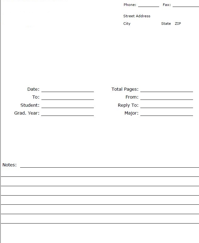 Transcript Request Fax Cover Sheet Template PDF