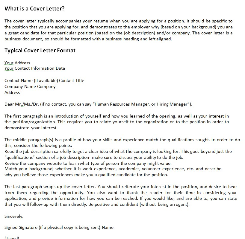 Typical Cover Letter Template Example