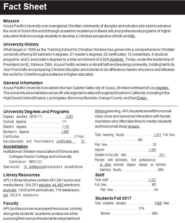 University Fact Sheet