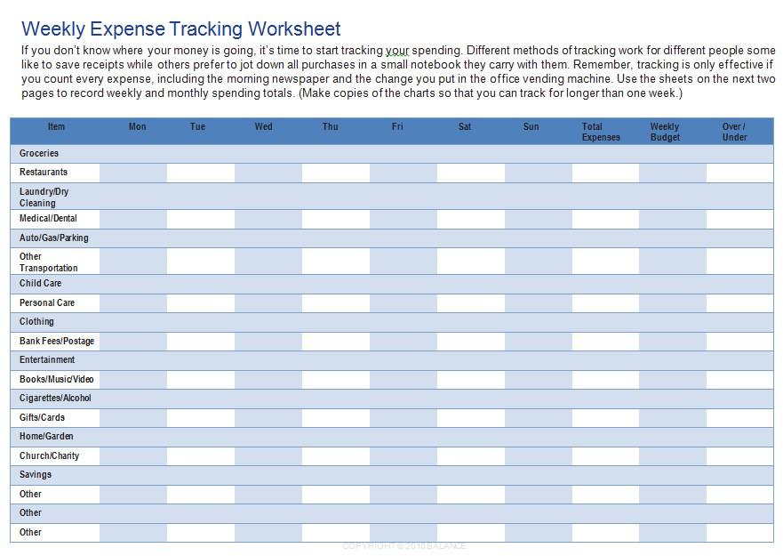Weekly Home Budget Worksheet