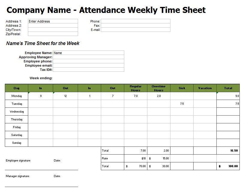 Weekly Timesheet Template in Excel1