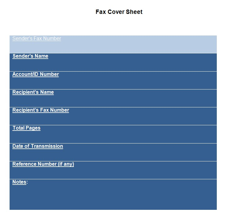 Whole Page Fax Cover Sheet Template