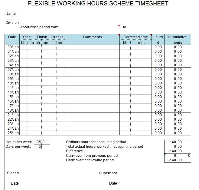 Working Hours Timesheet Template