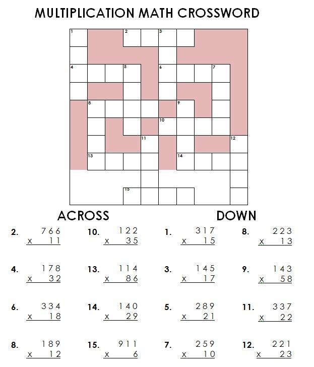 multiplication crossword 01 pf