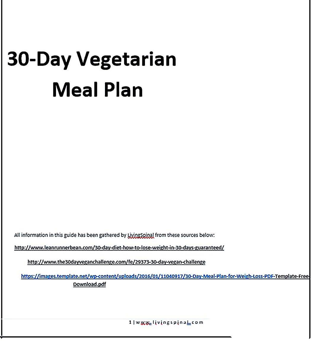 30 Day Vegetarian Meal Plan Guide