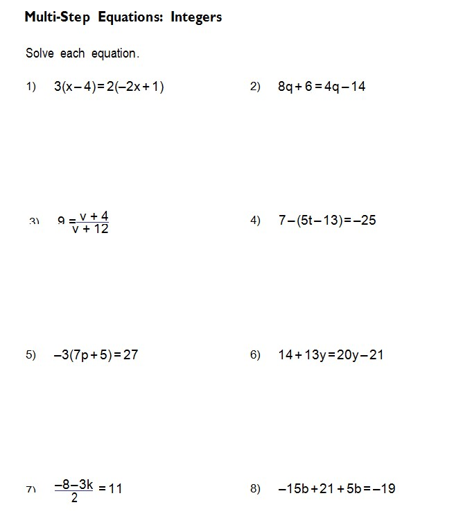 7th Grade Algebra Practice Problems
