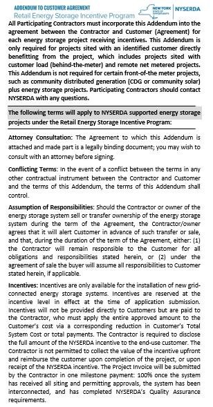 Addendum Customer Agreement