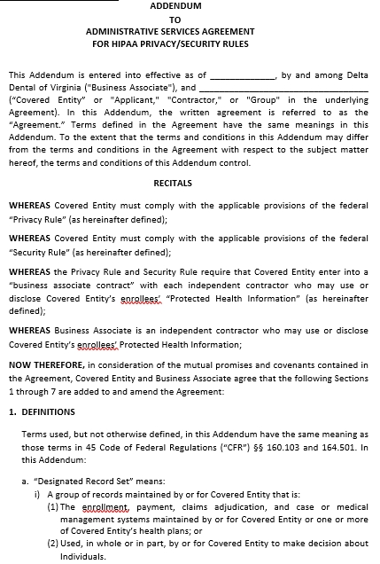 Addendum Service Agreement in PDF