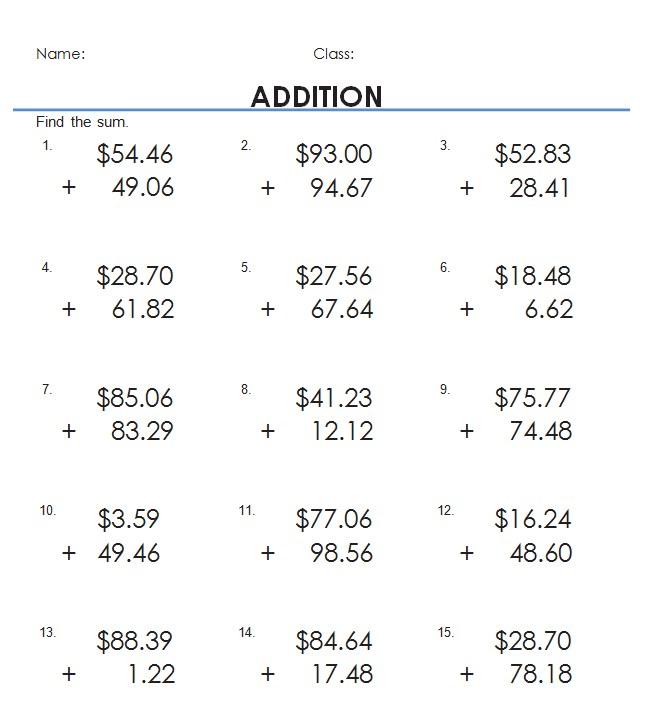 Addition of Money WorksheetsKids