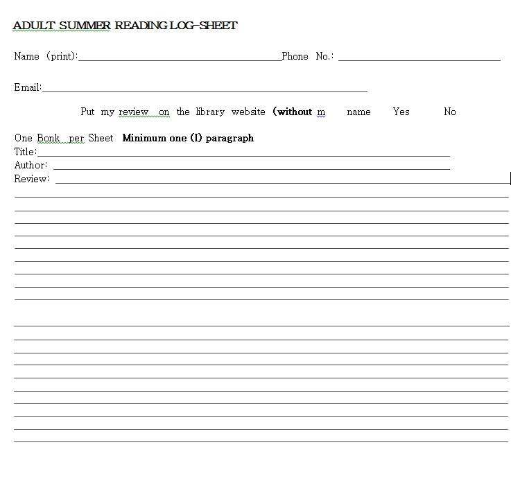 Adult Reading Log Sheet