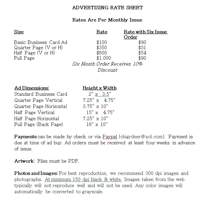 Advertising Rate Sheet Template