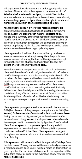 Aircraft Acquisition Agreement Template