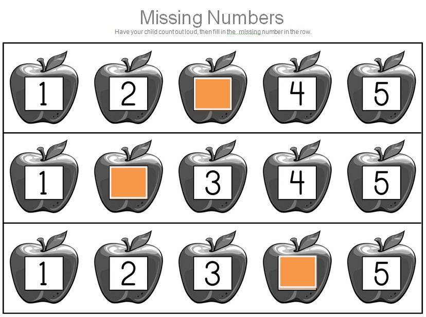 Apple Missing Numbers Worksheet Template