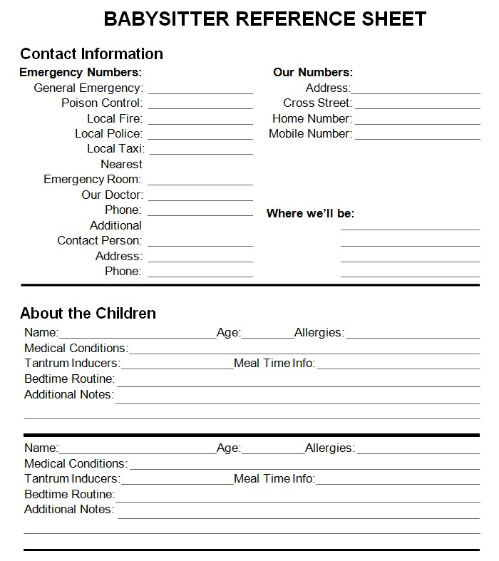 Babysitter Reference Sheet