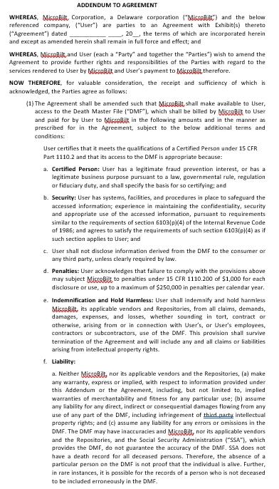 Basic Addendum Agreement Example
