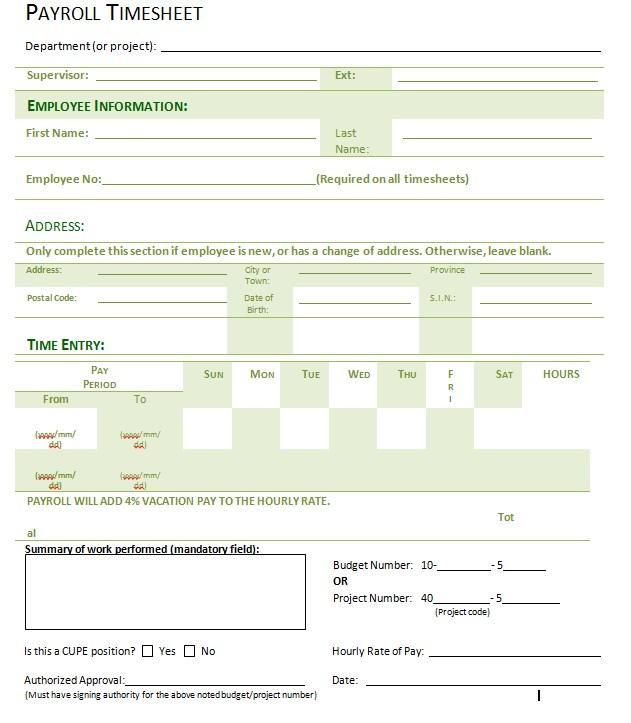 Basic Payroll Timesheet Template