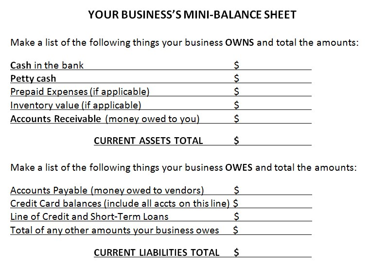 Basic Small Business Balance Sheet