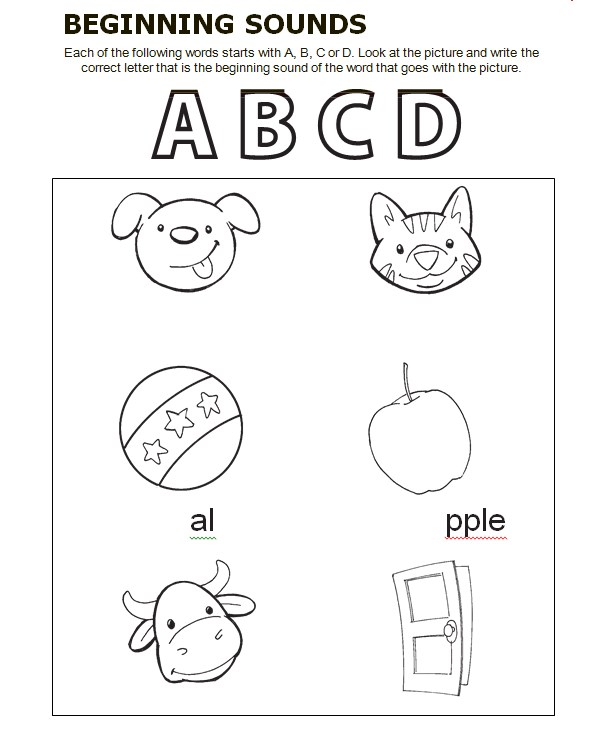 Begining Sounds Language Art Worksheet Template