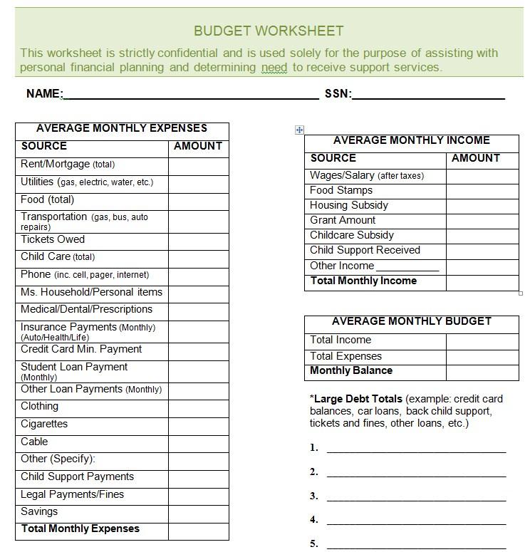 Blank Budget Worksheet