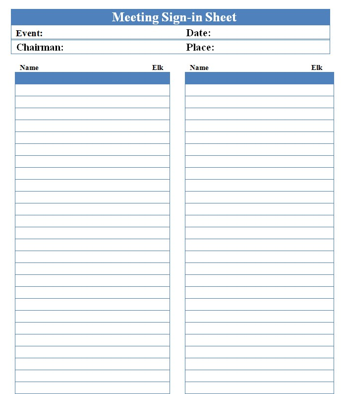 Blank Meeting Sign In Sheet Template