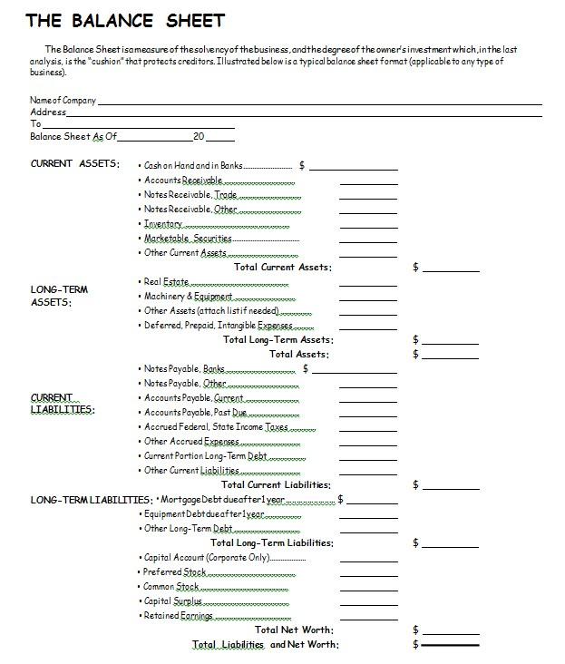 Blank Personal Balance Sheet