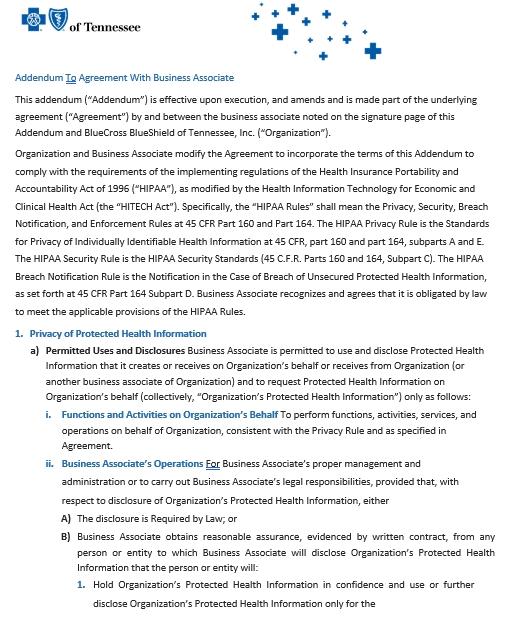 Business Addendum Agreement Template