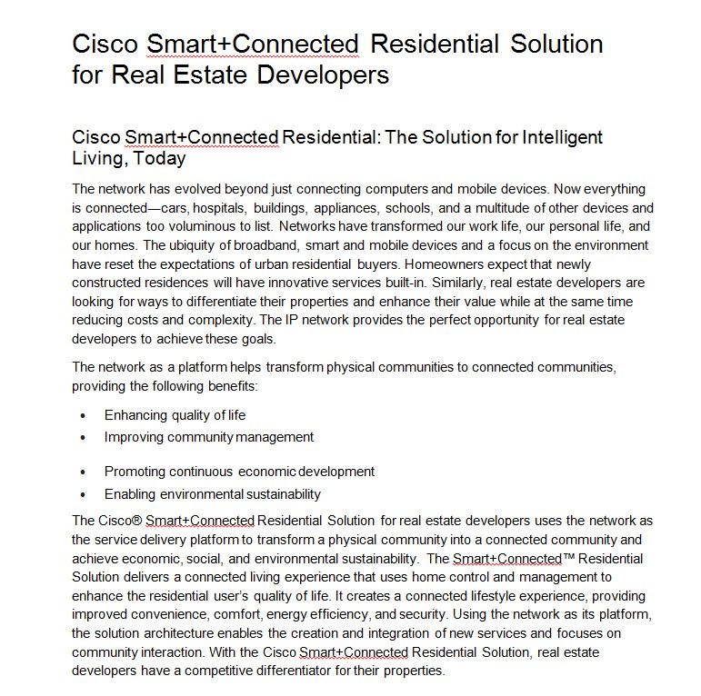 CISCO Real Estate datasheet