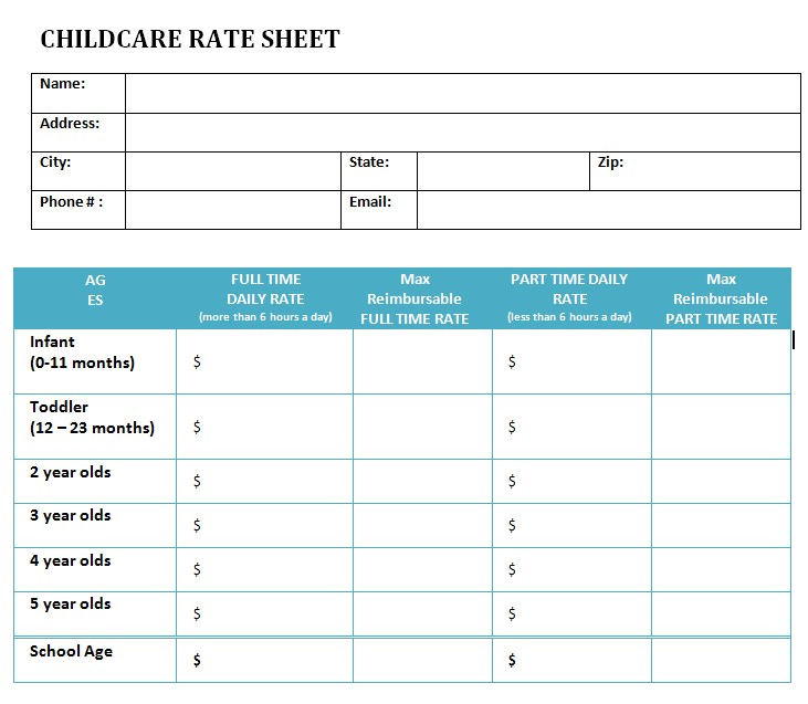Childcare Rate Sheet Template